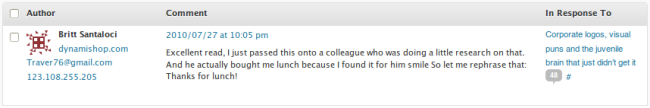 """Spam that reads """"Excellent read, I just passed this onto a colleague who was doing a little research on that. And he actually bought me lunch because I found it for him smile So let me rephrase that: Thanks for lunch!"""""""